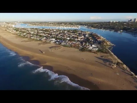 Newport Beach At Sunrise - Drone Aerial View - DJI Phantom 3 Advanced - California