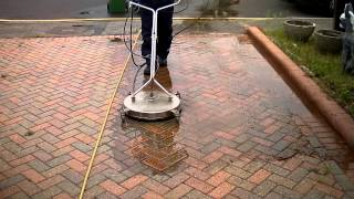 block paving cleaning driveway with a mossmatic flat surface cleaner 2