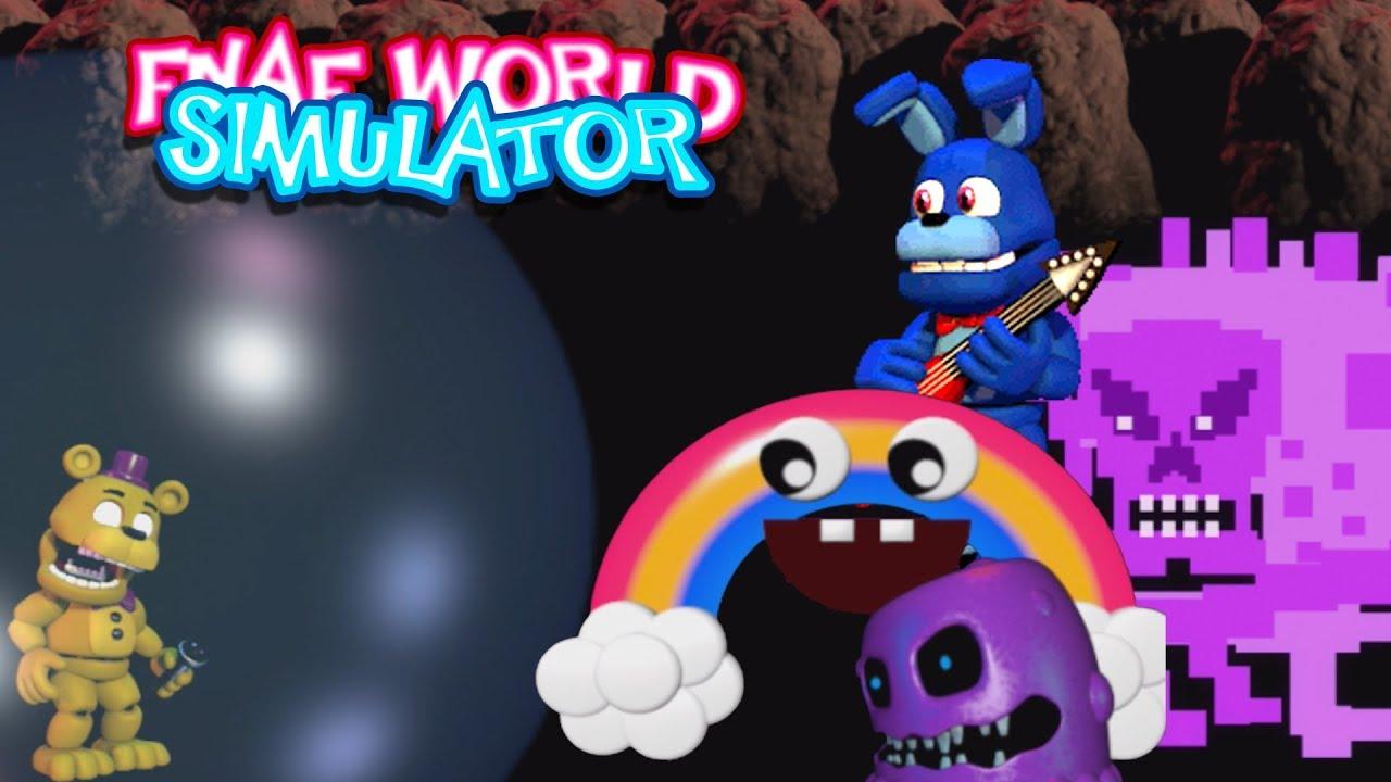 DEFEATING PURPLE GEIST + CHICA'S MAGIC RAINBOW + BONNIE!! | FNAF World  Simulator