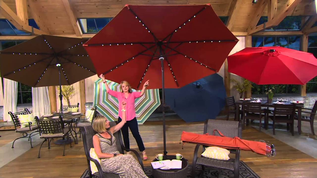 Wonderful ATLeisure 9u0027 Turn 2 Tilt Patio Umbrella W/ 52 Solar LED Lights U0026 Cover On  QVC   YouTube