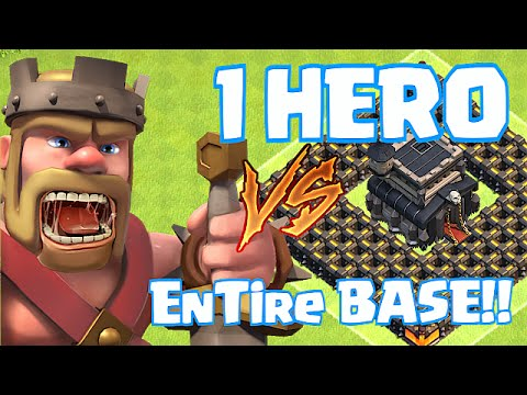 Clash Of Clans - 1 Lvl 40 HERO VS. ENTIRE BASE!!! (King Goes FAT MODE!!)