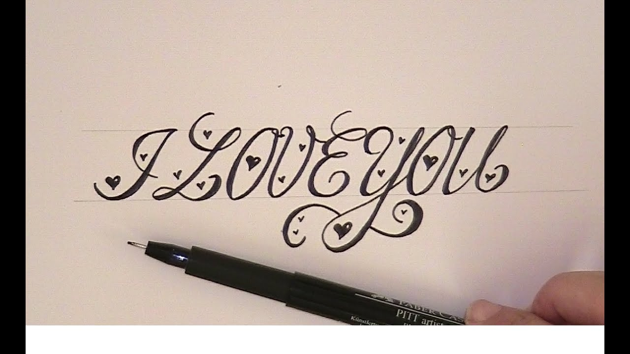 How to write in cursive calligraphy i love you easy version