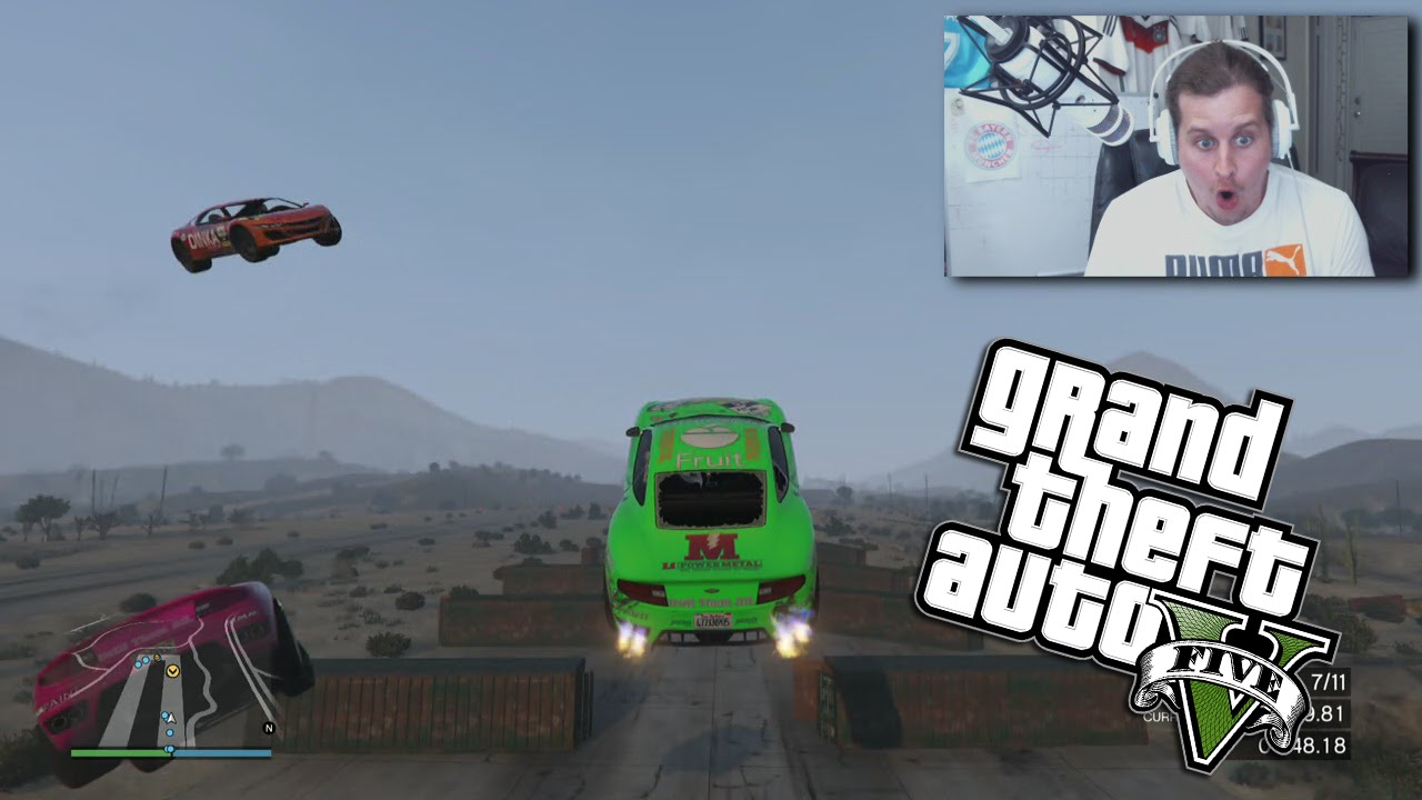 DESERT SUPER JUMP GTA RACE! GRAND THEFT AUTO 5 (FUNNY MOMENTS)
