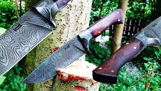 Knife making - Integral Damascus knife