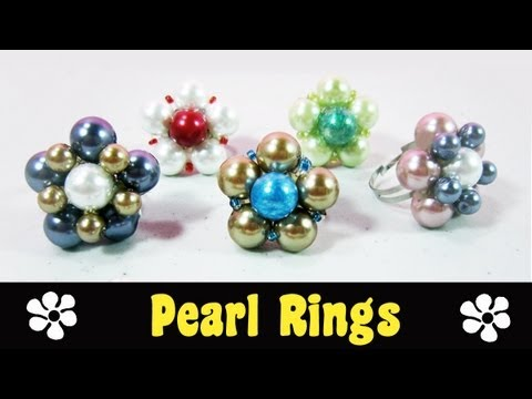 How to make easy daisy pearl rings ☮ - EP - simplekidscrafts