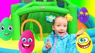 Eggs Surprise Toys Challenge with Inflatable slide