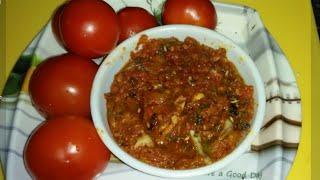 Spicy Tomato Chutney / Simple Tomato Chutney for pulka / Tomato chutney Recipe In Kannada