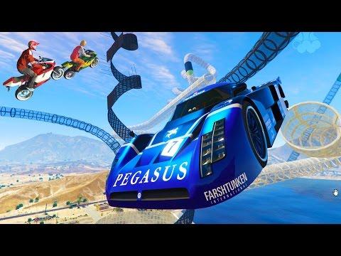 GTA 5 NEW STUNT DLC RACES - NEW DLC CUSTOM GTA V STUNT RACES (GTA 5 Funny Moments)