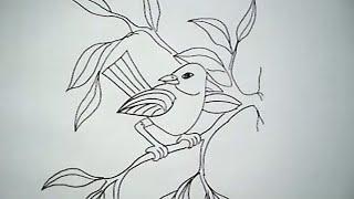 cara menggambar burung di atas ranting pohon (How to draw a bird on the tree branch)