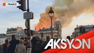 Nasunog na Notre Dame Cathedral sa Paris