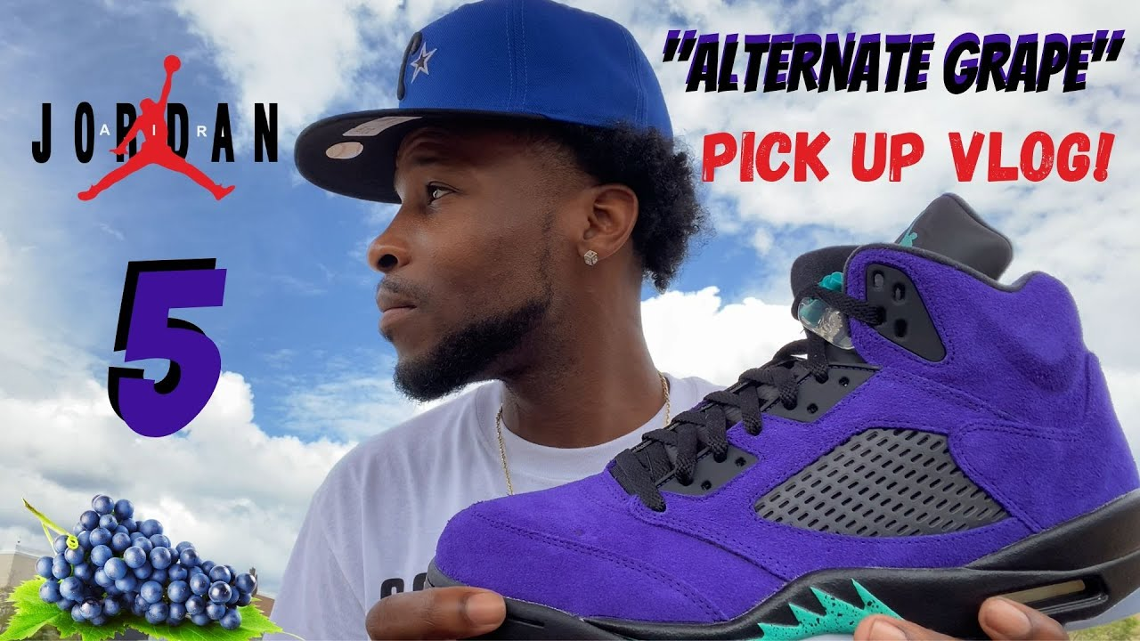 "I HIT ON 2 PAIRS!! JORDAN 5 ""ALTERNATE GRAPE"" PICK UP VLOG!!"