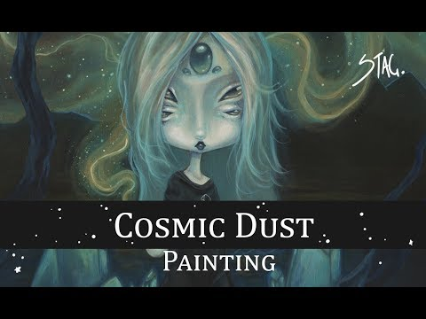 Cosmic Dust Lowbrow alien space acrylic painting