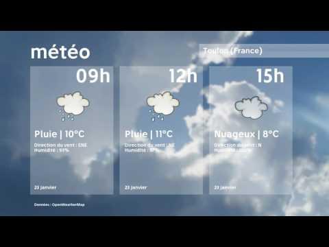 Météo Toulon   lundi 23 janvier 2017