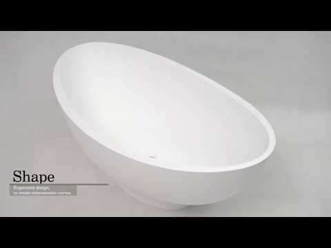 High Standard Freestanding Solid Surface Standalone Stone Cast Resin Bathtub BS-8635