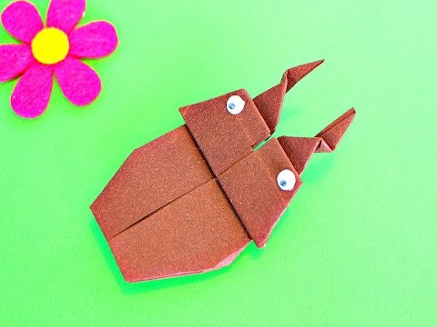 Оригами ЖУК из бумаги. Origami Fácil ESCARABAJO De Papel.Paper Origami Insects BEETLE