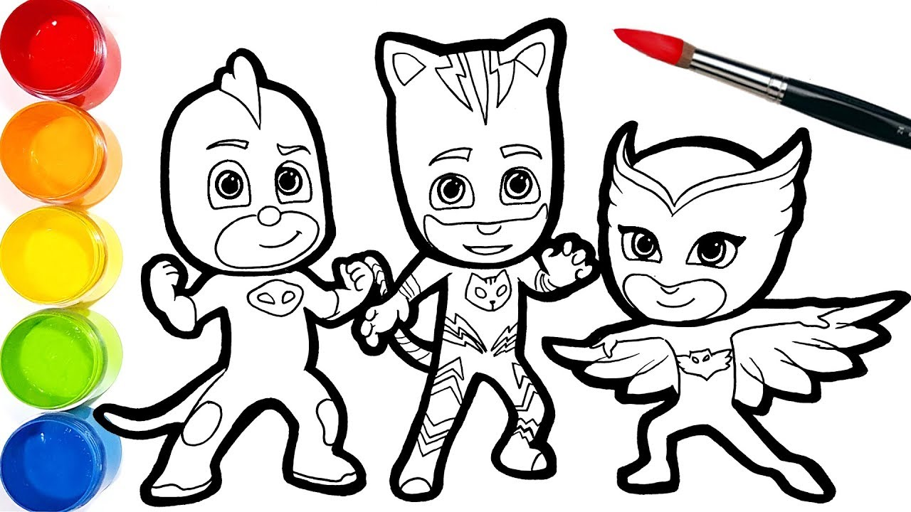 pj masks drawing coloring pages for kids . draw and paint
