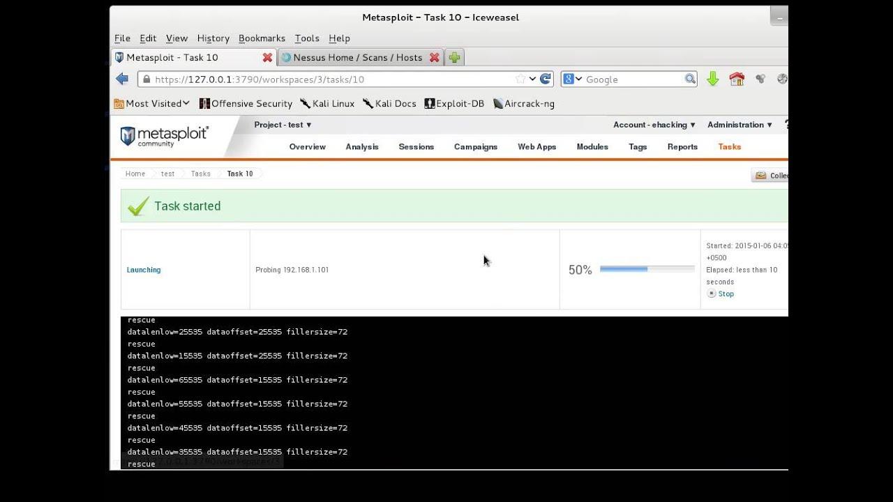 Kali Linux tutorial, Metasploit with Nessus