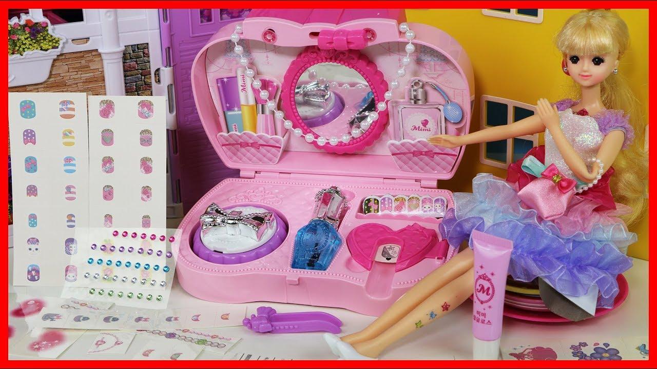 小公主兒童美甲貼紙玩具化妝盒扮家家酒遊戲 - YouTube