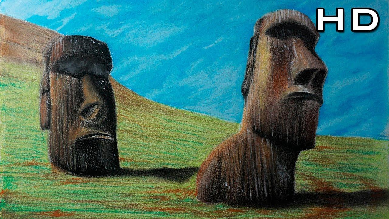 Dibujo de los Moais de Isla de Pascua con Lápices Pastel - Paisaje ...