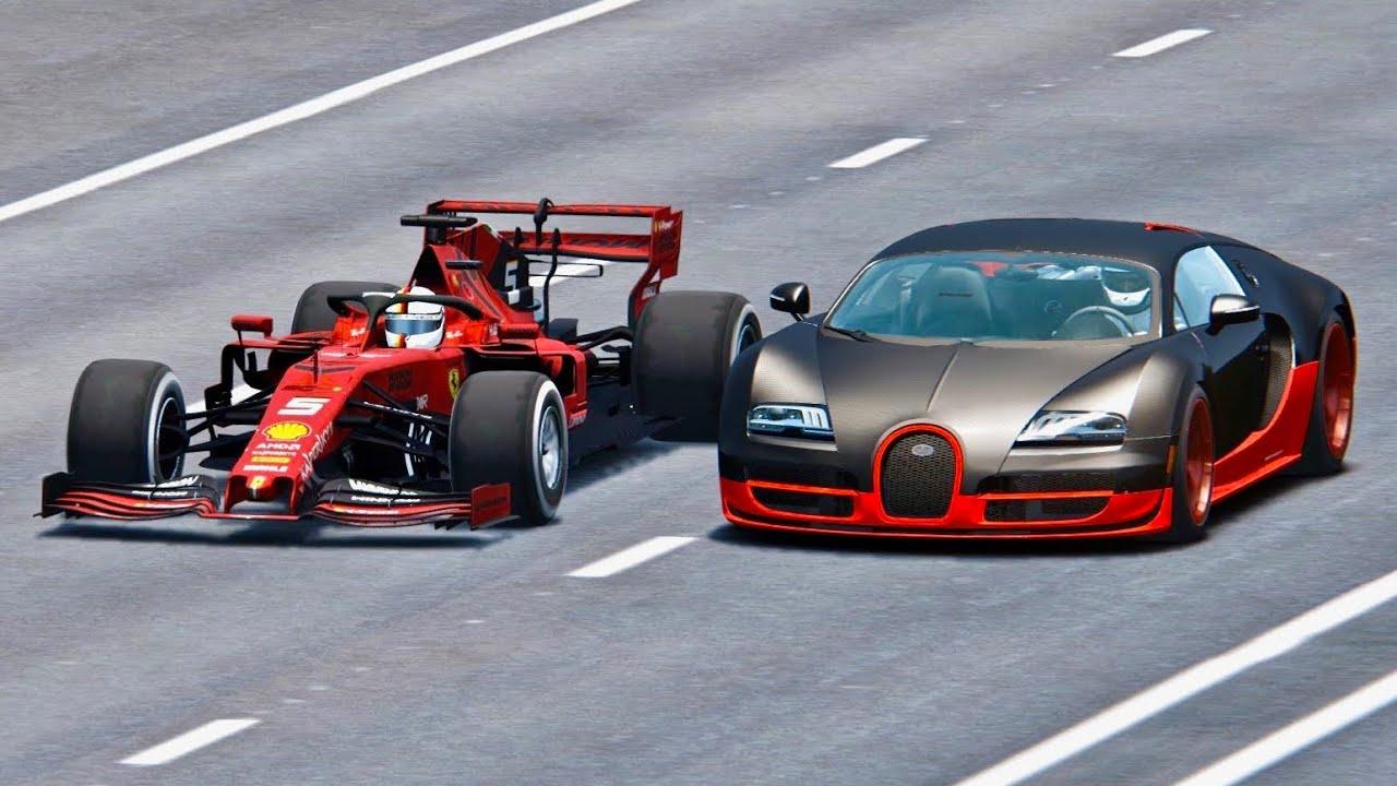 ferrari f1 2019 vs bugatti veyron super sport drag race youtube