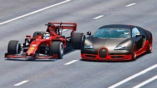 Ferrari F1 2019 vs Bugatti Veyron Super Sport  Drag Race