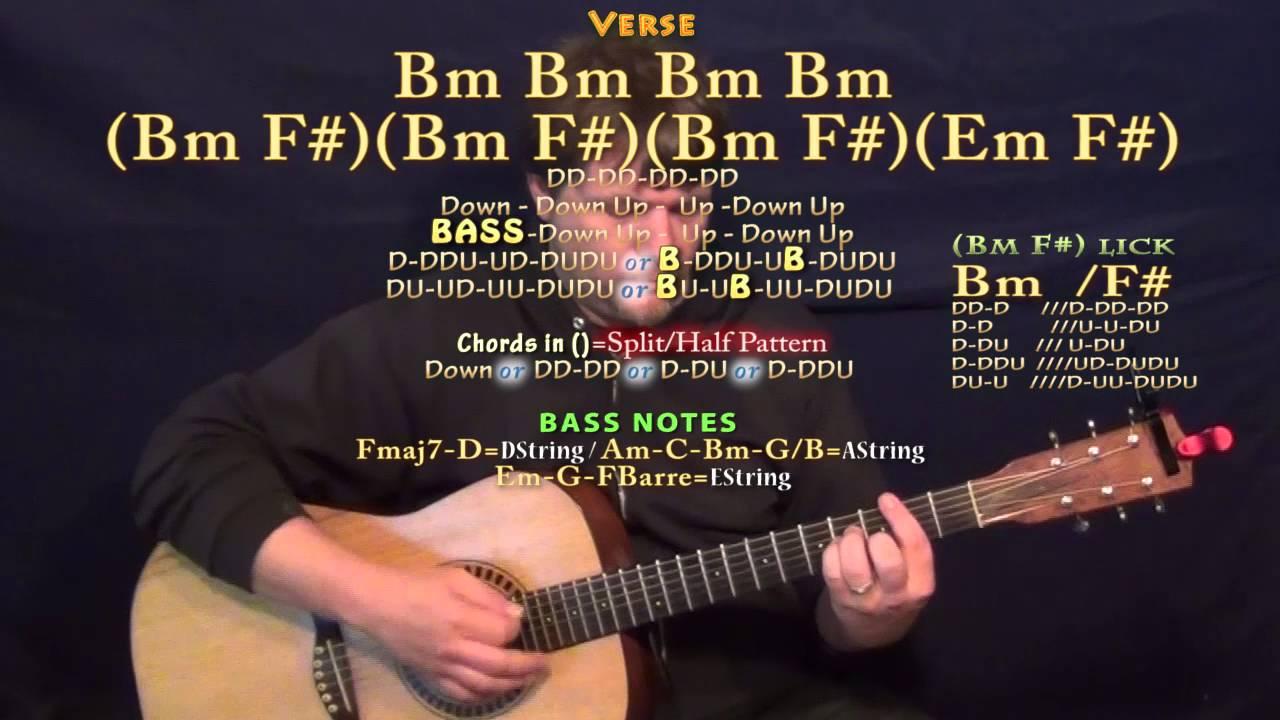 Pop Style Drake Guitar Lesson Chord Chart In Bm Minor Bm F Em