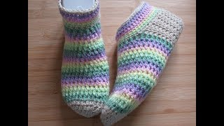 Crochet slippers adult Bed socks tutorial Happy Crochet Club