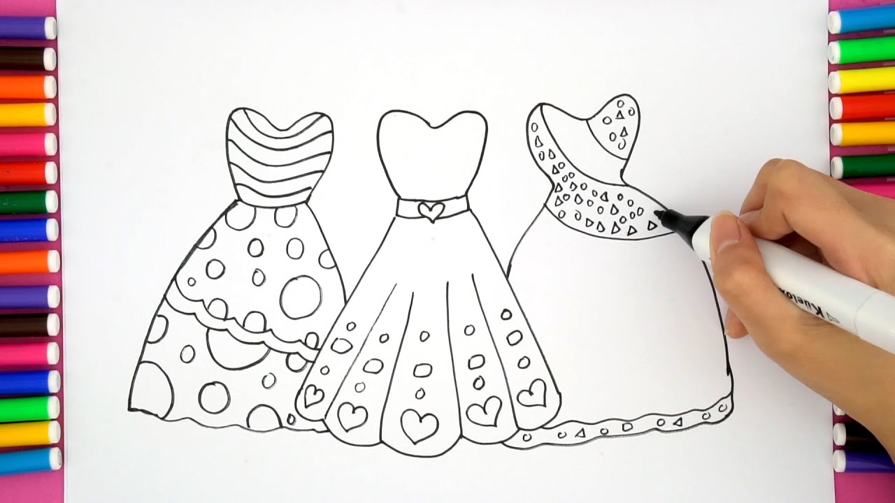 drawing girls barbie dress for u0026 coloring pages for children