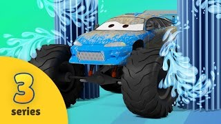 Monster Truck School Bus and Fire Brigade Car Wash | EPISODE THREE | Monster Truck Adventures
