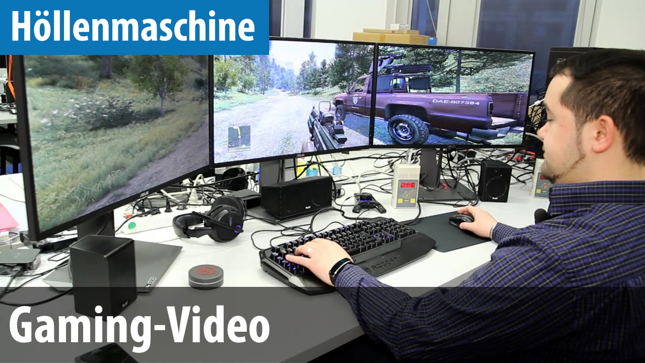 Gamer zimmer 6 bildschirme  Höllenmaschine 6 - Gaming-Video - Far Cry 4, Battlefield Hardline ...