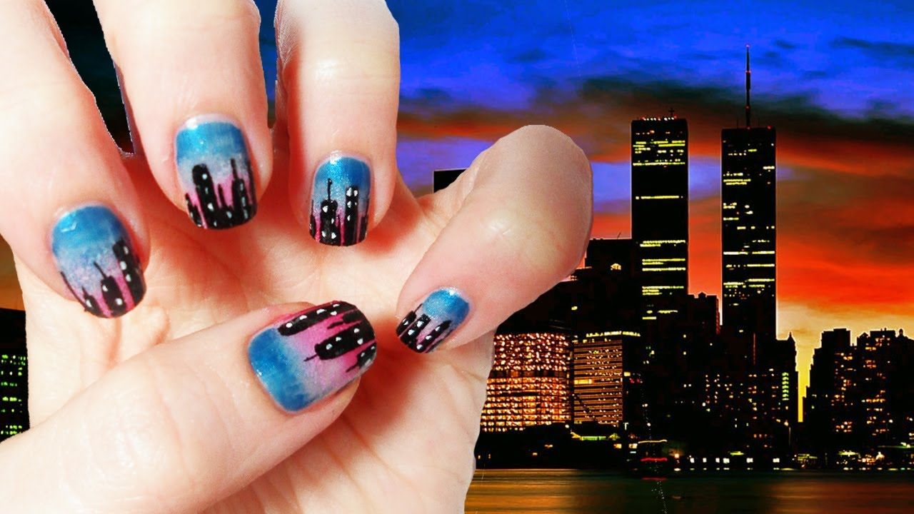 New York Skyline Nails Tutorial - YouTube