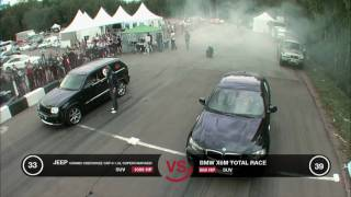 Jeep Grand Cherokee SRT-8 Supercharged vs BMW X6M Stage 2(Follow us: Facebook https://www.facebook.com/dragtimes.ru Twitter: https://twitter.com/Dragtimes_ru Instagram: http://instagram.com/dragtimes/ VK: ..., 2011-04-28T11:11:46.000Z)