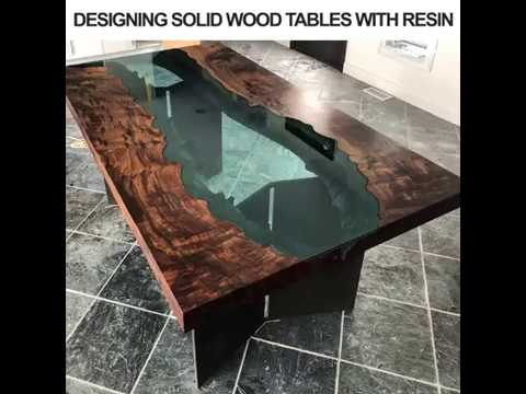 making wood table with resin fabrication table bois avec. Black Bedroom Furniture Sets. Home Design Ideas