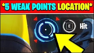 HIT 5 CONSECUTIVE WEAK POINTS WHILE HARVESTING MATERIALS LOCATION & HOW TO (Fortnite Season 2)
