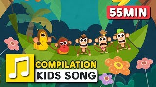 [Larva KIDS] FIVE LITTLE MONKEYS and other songs from Larva KIDS | 26 English Kids Songs | 55minutes