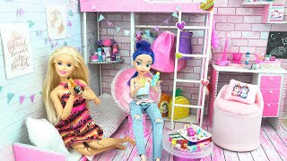 Miniature Dollhouse. Barbie Bedroom with Bunk Bed. Barbie Drinks, mini shampoo. (Play Dolls)