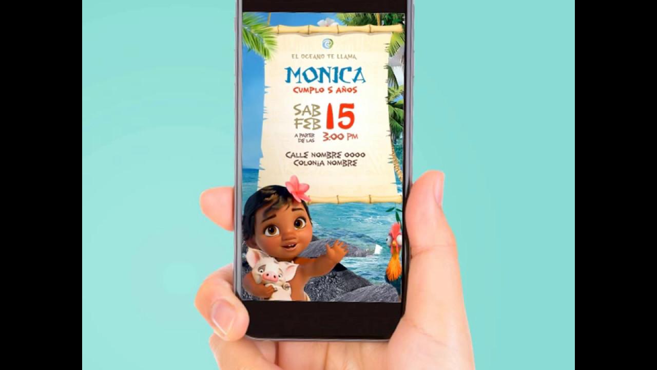 Vídeo Invitación Baby Moana By Pixeland Invitaciones