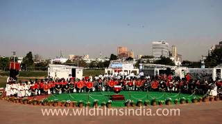 Indian police band performs at the Central Park of Connaught Place