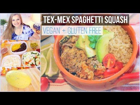 Vegan Dinner Recipe: TexMex Spaghetti Squash Casserole with Cheezy Topping