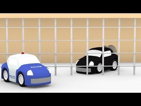 4 carros coloridos. O ladrão do banco. Desenho animado.
