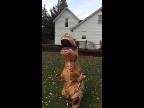 Kid in T-Rex costume chases dog | ORIGINAL - YouTube