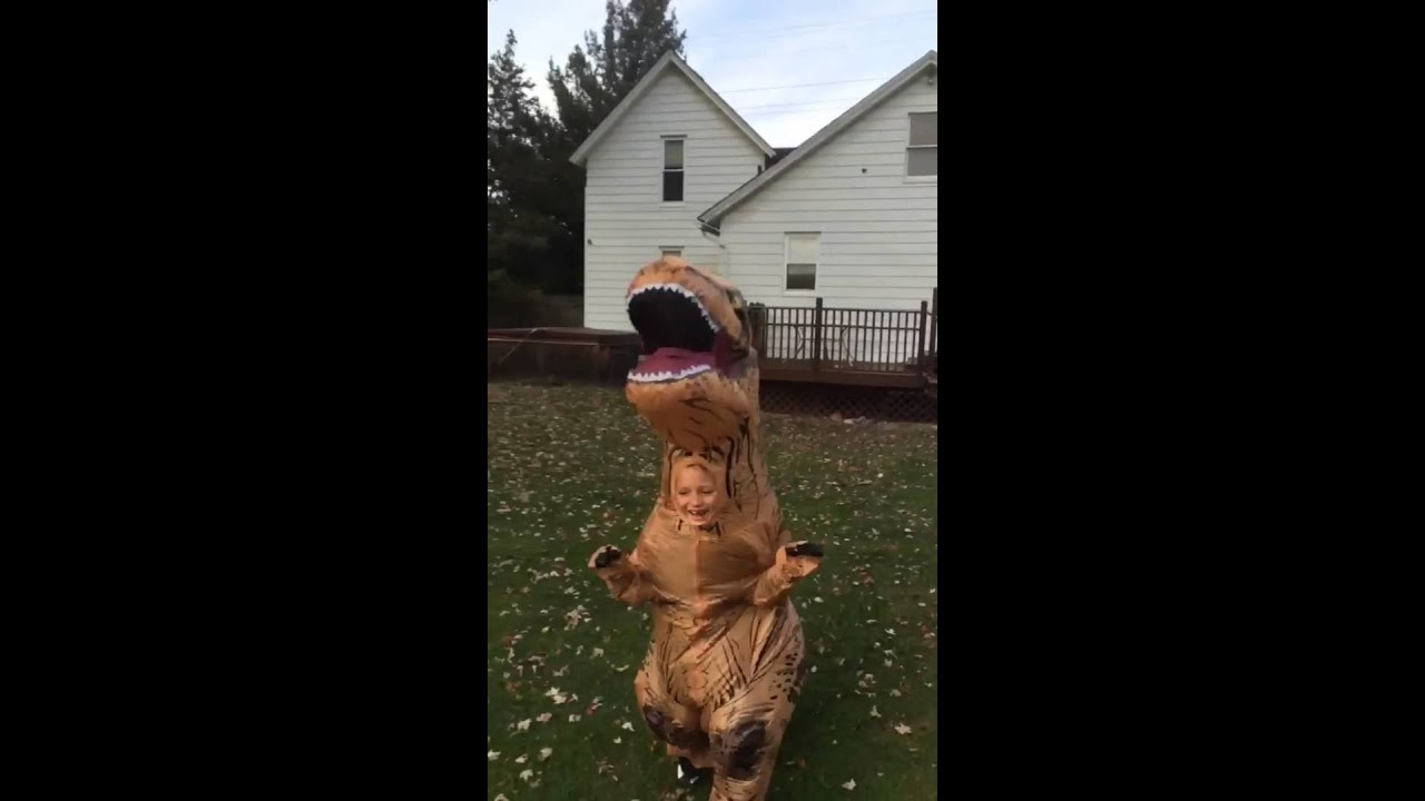 kid in t rex costume chases dog original