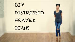 DIY Distressed Frayed Jeans