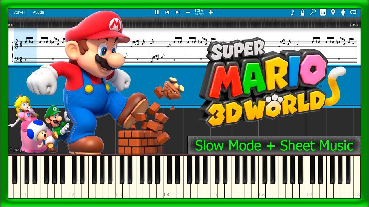 Super Mario 3D World - Theme Song [Slow + Sheet Music] (Piano Tutorial)