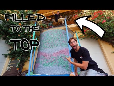 TRAMPOLINE FILLED WITH STYROFOAM PEANUTS (COMPLETELY FULL)