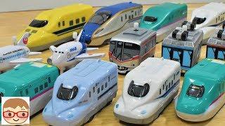 新幹線と電車と飛行機のおもちゃ!くるっぴー&走る!止まる!光る新幹線! はやぶさやドクターイエローも!20sarasa にーさら