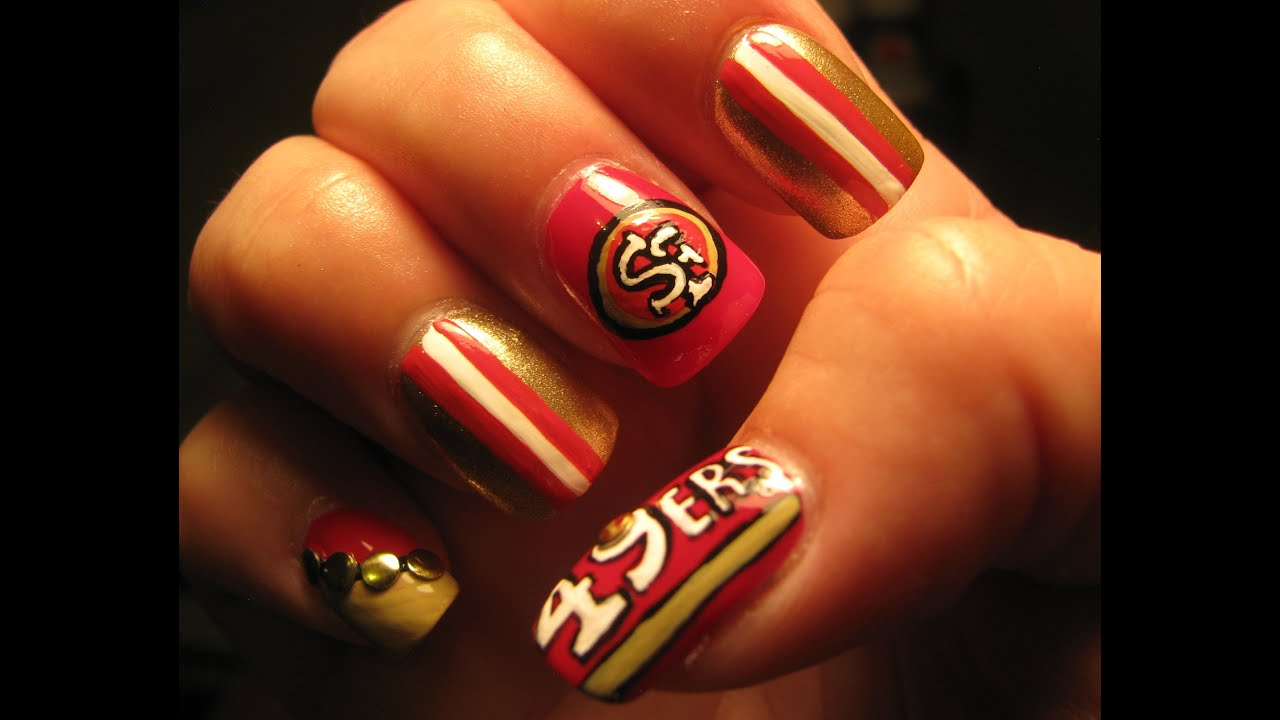San Francisco 49ers nail art tutorial - YouTube