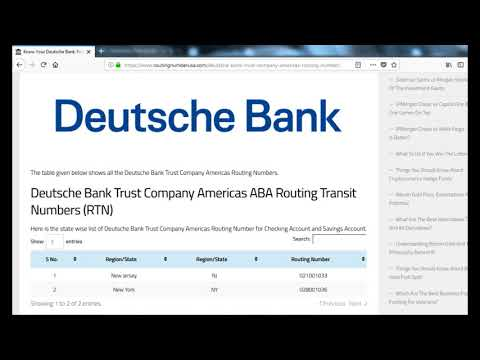 How To Find Deutsche Bank Trust Company Americas Routing Number?