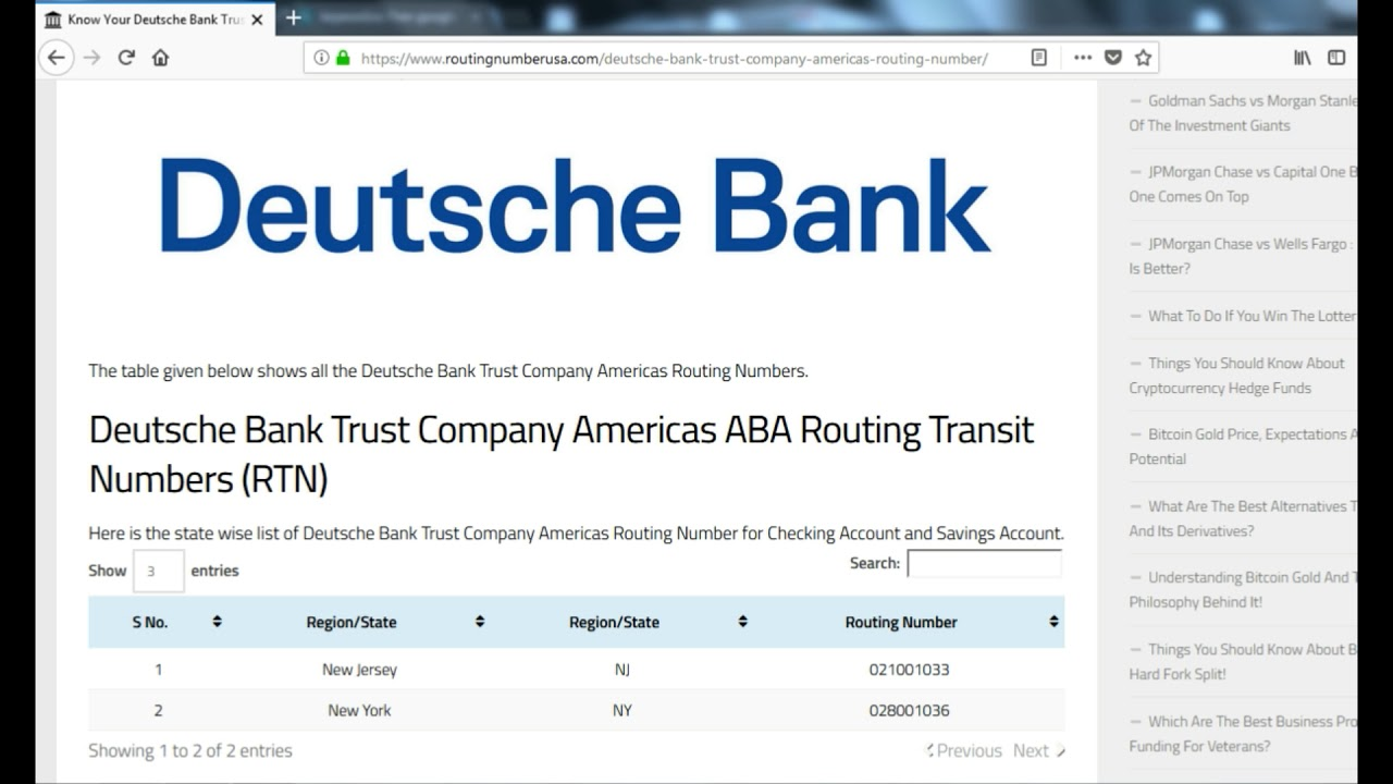 how to find deutsche bank trust company americas routing number