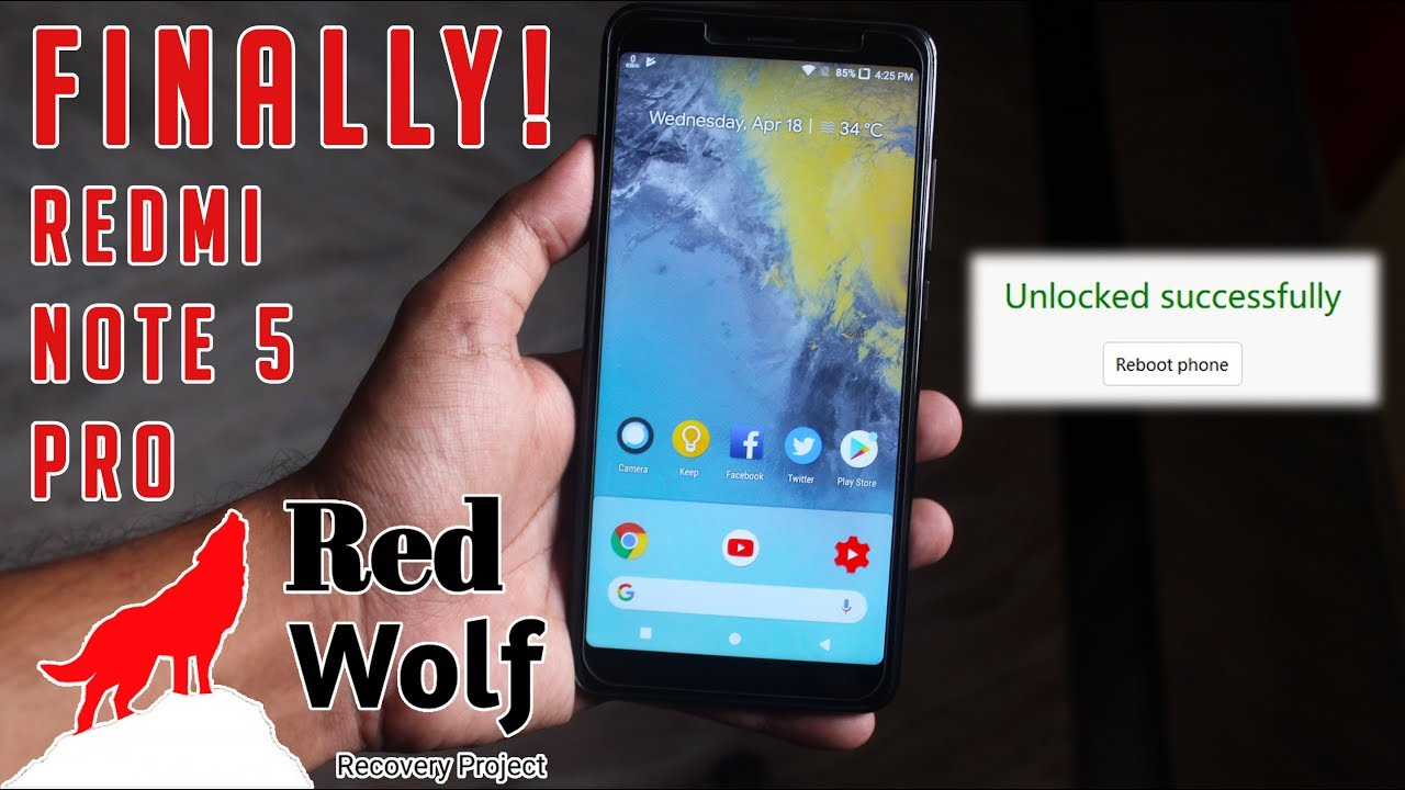 How To Unlock Bootloader | Install RedWolf TWRP | Custom Rom On Redmi Note  5 Pro